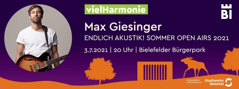 Karsten Jahnke präsentiert: Max Giesinger - Endlich Akustik! Open Air 2021